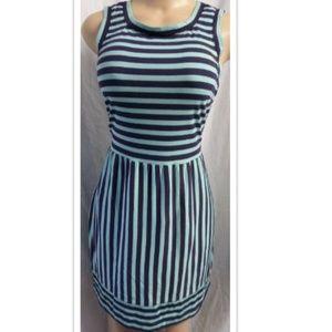 GREEN/BLUE STRIPED CASUAL A-LINE SKIRT DRESS